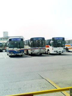 名護のバスターミナルにて。